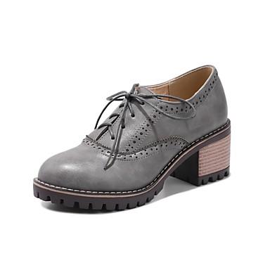 Chaussures Confort Polyuréthane 06806191 Marron Beige Bottier Talon Gris Femme Printemps Oxfords T74wn1aqa