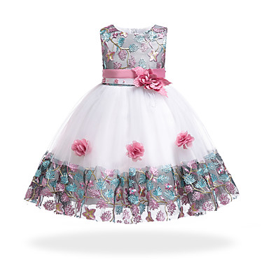 9260f4c2e1 Kids Girls  Basic   Sweet Party   Holiday Floral   Patchwork Patchwork  Sleeveless Knee-length Cotton   Polyester Dress Orange