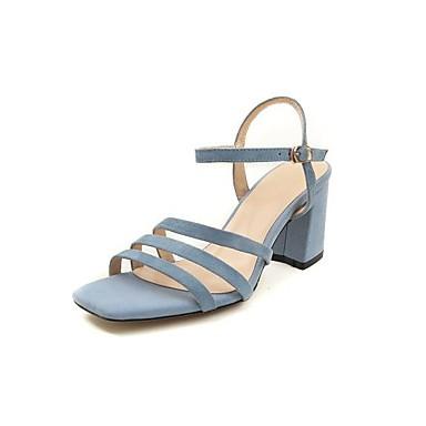 Žene Cipele Brušena koža Ljeto Udobne cipele Sandale Kockasta potpetica Otvoreno toe Kopča Crn / žuta / Plava