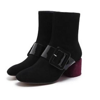 Žene Cipele Koža Jesen / Zima Udobne cipele / Modne čizme Čizme Kockasta potpetica Crn