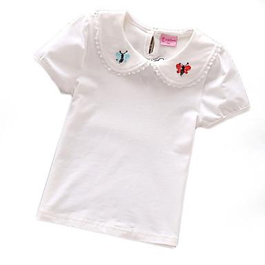 baratos Blusas para Meninas-Bébé Para Meninas Básico Diário Sólido Floral Manga Curta Padrão Camiseta Branco