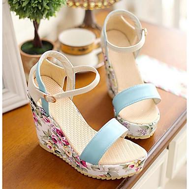 Cuña Zapatos Mujer Confort Azul Blanco PU Morado Sandalias 06838046 Primavera Tacón YZBAZ
