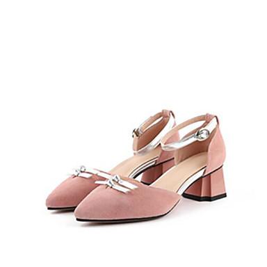 Žene Cipele Brušena koža Ljeto Udobne cipele Sandale Kockasta potpetica Krakova Toe Kopča Crn / Pink
