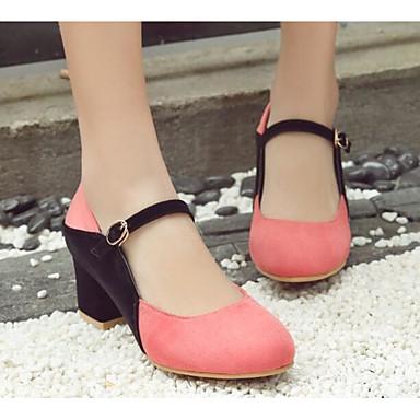 Žene Cipele PU Proljeće / Jesen Udobne cipele / Obične salonke Cipele na petu Kockasta potpetica Sive boje / Watermelon / Badem