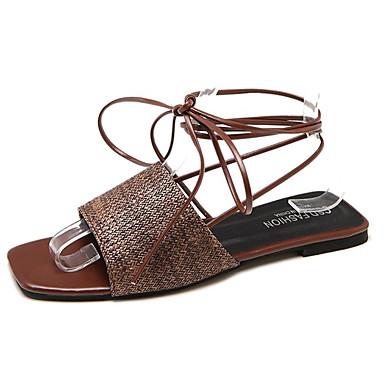 Verano Sandalias 06776557 Negro Zapatos Descubierto PU Tacón Plano Mujer Talón Beige Marrón pqXBEwB