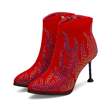 Women's Shoes Suede Fall & Stiletto Winter Fashion Boots Boots Stiletto & Heel Pointed Toe Booties / Ankle Boots Rhinestone / Sparkling Glitter Black / Red / Wedding / Party & Evening baa15d