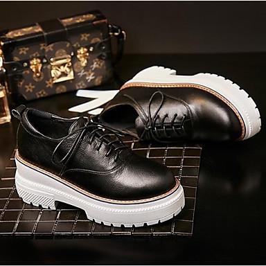 Femme Marron Noir Cuir Eté Nappa Confort Printemps fermé Bout Oxfords Chaussures Creepers 06832887 6pwq61a