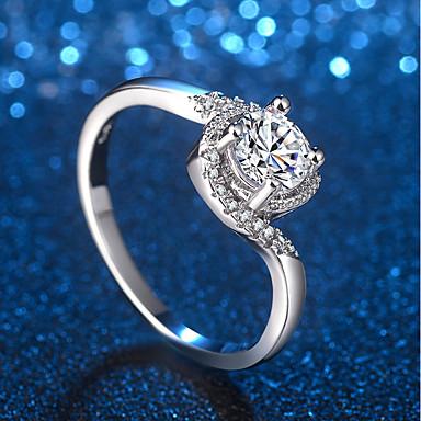 billige Motering-Dame Ring Micro Pave Ring 1pc Sølv Messing Platin Belagt Fuskediamant damer Unikt design trendy Bryllup Formell Smykker Elegant crossover HALO Dyrebar Søtt