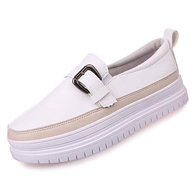 Zapatos Verano blanco taco redondo On Mujer Media Confort Slip Beige y Dedo de Negro bajo plataforma 06832949 Zapatos PU EwTBqgd