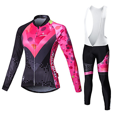 Malciklo Women's Long Sleeve Cycling Jersey with Bib Tights - White / Black Bike Tights / Clothing Suit, Breathable, 3D Pad, Quick Dry Coolmax®, Lycra Patchwork / High Elasticity / Plus Size