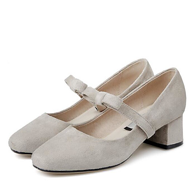 Žene Cipele Brušena koža Ljeto Udobne cipele Cipele na petu Kockasta potpetica Trg Toe Mašnica Crn / Pink / Badem