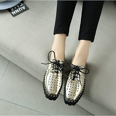 Printemps 06791706 Eté Femme Nappa Cuir Bout Confort Argent Creepers fermé Chaussures Oxfords Or tSUwF