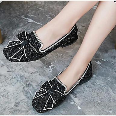 Femme Bout Plat Eté Polyuréthane Argent Noir rond Confort Chaussures Ballerines 06791523 Talon r0xqr