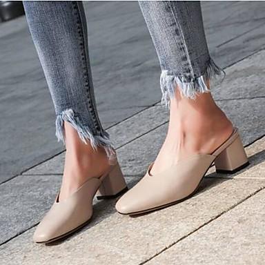 Printemps Sabot 06836459 Cuir Mules Talon Bout Eté Chaussures Amande Femme amp; Nappa Confort Noir fermé Bottier qaCZtxSn