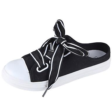 Žene Platno Ljeto Udobne cipele Klompe i natikače Ravna potpetica Okrugli Toe Obala / Crn / Pink