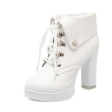 à 06782910 Bout Demi Botte Automne Femme la Talon Bottine Noir Blanc Bottes Polyuréthane Bottier Chaussures Bottes Mode rond hiver qPUwRXx1P
