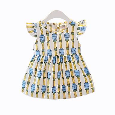cheap Baby & Toddler Girl-Baby Girls' Basic Floral Short Sleeve Cotton Dress Blue / Toddler