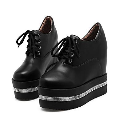 povoljno Ženske cipele-Žene Oksfordice Wedge Heel Okrugli Toe Štras PU Čizme gležnjače / do gležnja Modne čizme / Čizmice Jesen zima Obala / Crn / Dnevno