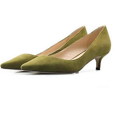 Žene Cipele Brušena koža Proljeće Udobne cipele Cipele na petu Stiletto potpetica Crn / Sive boje / Zelen