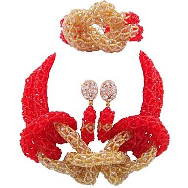baratos Bijuteria de Mulher-Mulheres Strands Necklace Multi Camadas MOON senhoras Fashion africano Cristal Austríaco Brincos Jóias Vermelho / Azul / Champanhe Para Casamento