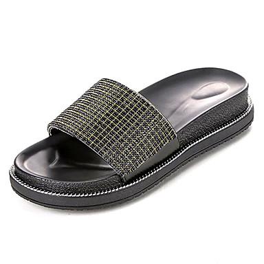 06781764 Verano redondo Confort Mujer Amarillo Zapatillas flops PU flip Media plataforma Zapatos y Dedo Plata AqEwaH6