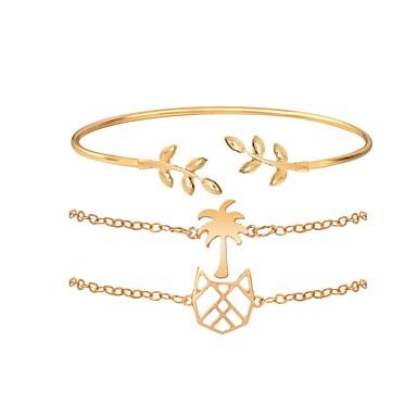 abordables Bracelet-3pcs Bracelet Parure Bracelet Femme Classique Animal Cocotier dames Elégant Dessin Animé Branché Bracelet Bijoux Dorée Argent Irrégulier pour Quotidien Bureau et carrière