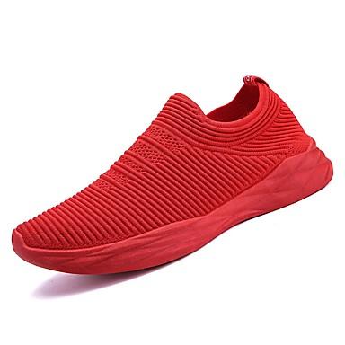 Muškarci PU / Elastična tkanina Ljeto Udobne cipele Atletičarke tenisice Hodanje Crn / Sive boje / Crvena
