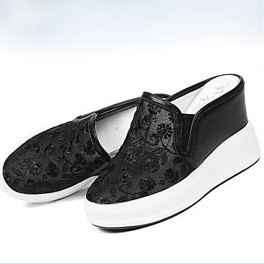 fermé Printemps Femme Cuir Blanc Confort Ballerines Chaussures de 06790884 Nappa Noir Hauteur semelle Bout compensée qRPwtR