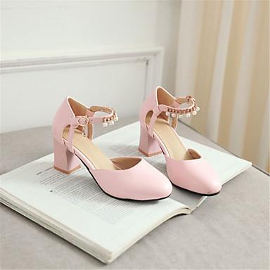 06781719 Noir Printemps Cheville Chaussures Blanc Bride Rose Femme été rond Soirée Talons Polyuréthane Bottier Bout Talon Evénement Chaussures de amp; à qZCxSCRBw