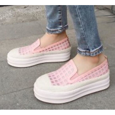 Chaussures Mocassins D6148 et Nappa Confort 06832987 Chaussons Cuir Femme Creepers Printemps Rose Blanc gaO1q