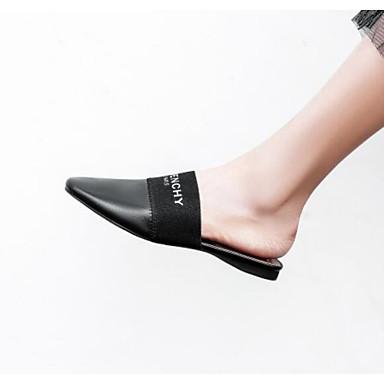 06778133 amp; Mules Noir Blanc Talon Plat Sabot Chaussures Femme Confort Cuir Eté rond Nappa Bout Ynw6S1
