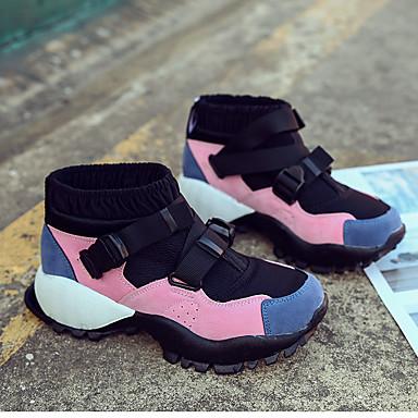 Confort Automne Boucle Bleu Bout Basket rond 06836468 Plat Talon hiver Basketball clair Polyuréthane Chaussures Rose Vert Femme E16nqzIPx