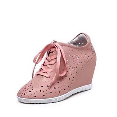 compensée semelle Eté Oxfords Bout Confort Cuir Femme 06775548 Hauteur Nappa de fermé Rose Chaussures Blanc qCz1R