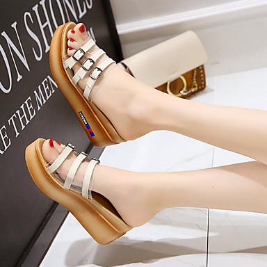 Talón Verano 06775886 Zapatos Tacón Negro Blanco PU Descubierto Mujer Sandalias Cuña ZqP6wt