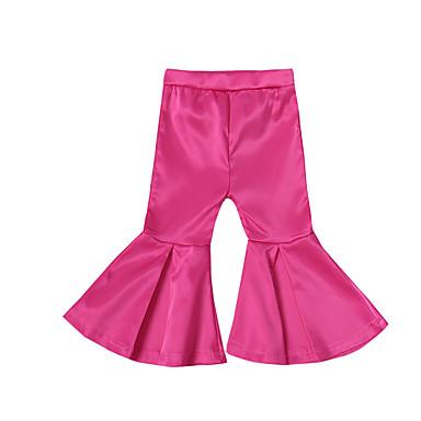 baratos Calças & Leggings para Meninas-Bébé Para Meninas Básico Moda de Rua Diário Para Noite Sólido Algodão Calças Dourado