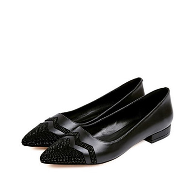 Žene Cipele Mekana koža Ljeto Udobne cipele / Balerinke Ravne cipele Niska potpetica Krakova Toe Štras Crn / Crvena