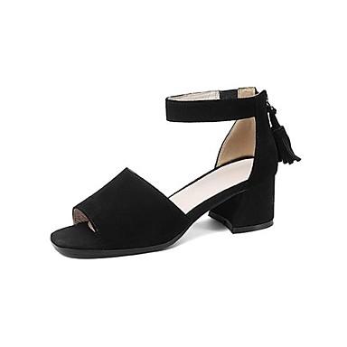 Žene Cipele Mekana koža Proljeće ljeto Udobne cipele Sandale Kockasta potpetica Otvoreno toe S resicama Crn / Bež