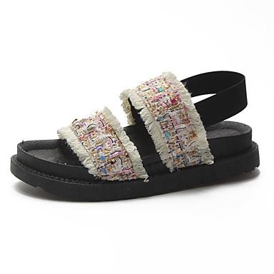 les chaussures de femme kaka (polyuréthane) le le le confort d'été des sandales creepers bout ouvert ceinture blanc / noir c62bea