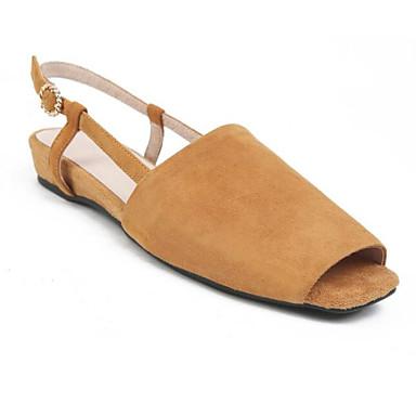 Žene Cipele Ovčja koža Ljeto Udobne cipele Sandale Ravna potpetica Sive boje / Svjetlo žuta / Svijetlo zelena