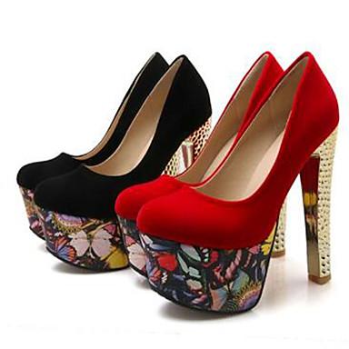 Chaussures Printemps 06777077 à Escarpin Noir Talon été Soirée Rouge amp; pointu Talons Bottier Chaussures Bout Femme Daim Basique Evénement d0USdH