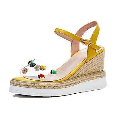 Žene Cipele Mekana koža Ljeto Udobne cipele Sandale Wedge Heel Otvoreno toe Svjetlucave šljokice / Kopča Obala / Bijela / Pink