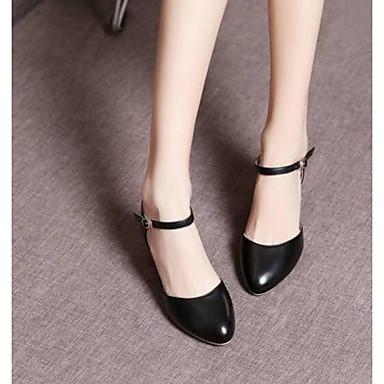 Femme Escarpin 06797736 Confort Basique Cuir Chaussures Blanc Noir à Talon Chaussures Printemps Nappa Bottier Talons Xx6YrfnqX