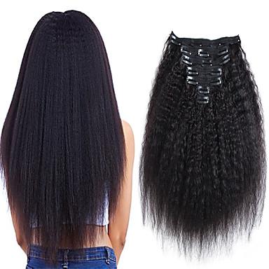 お買い得  人毛エクステンション-クリップ式 人間の髪の拡張機能 ストレート 人毛 人毛エクステンション ブラジリアンヘア ネイチャーブラック 7個 / パック 新参者 黒人女性用 女性用 ブラック