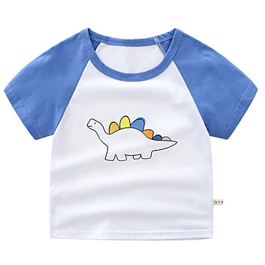 baratos Camisas para Meninos-Infantil Para Meninos Básico Diário Retalhos Estampado Manga Curta Padrão Algodão Camiseta Azul