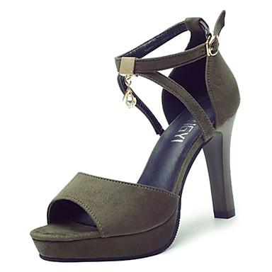 Žene PU Ljeto Remen oko gležnja Sandale Stiletto potpetica Okrugli Toe Štras Crn / Tamno zelena / Zabava i večer / Zabava i večer