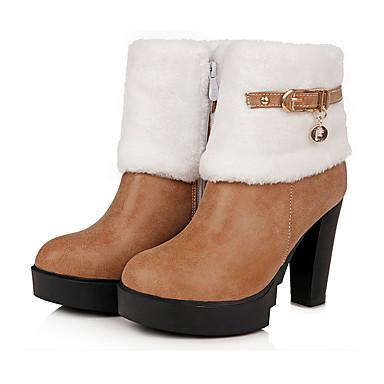 les chaussures de femme kaka (polyuréthanne), automne automne automne et hiver ski / bottes mode bottes chunky talon tour toe mi - mollet bottes boucle Gris  / jaune / rouge 0601d4