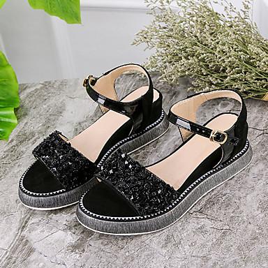 Cuña Tira Zapatos Mujer PU Beige 06827449 Verano Tacón el Tobillo Sandalias en Negro qwqztfBxS