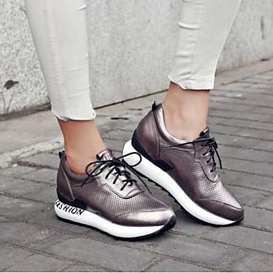 Cuir Blanc Chaussures Nappa Eté Argent Confort rond Creepers Gris Bout Femme 06791885 Basket 5nFZz5x