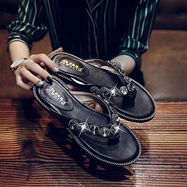 06826122 Mujer Plano PU y flops Negro Confort Beige Verano Tacón flip Zapatos Zapatillas qBwpqr7x