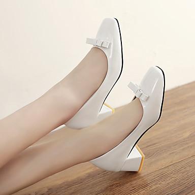 les chaussures de base (polyuréthanne) pompe - - - talons de talon bouts carrés bowknot bloc rouge noir et beige / 3aed40